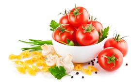 Preview wallpaper Tomatoes, bowl, mushroom, white background