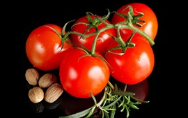 Preview wallpaper Tomatoes, nut, black background