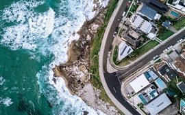 Preview wallpaper Top view the city, coast, street, houses, drone photography