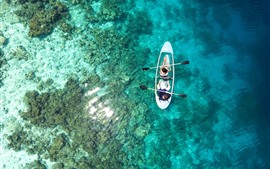 Preview wallpaper Top view the sea, clear water, coast, boat