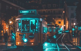 Preview wallpaper Tram, city, night