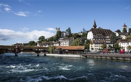 Preview wallpaper Travel to Switzerland, Lucerne, river, bridge, houses, city