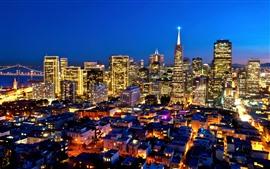Estados Unidos, California, ciudad, noche, rascacielos, iluminación