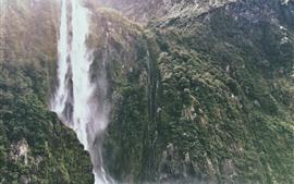 Cascada, acantilado, salpicadura de agua