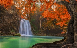 Cascada, hojas rojas, otoño