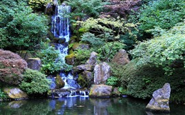 Водопад, скалы, парк