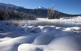 Nieve blanca, invierno, árboles, niebla, lago, Kanas, China
