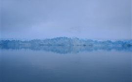 Winter, ice, fog, lake, dawn