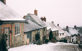Preview wallpaper Winter, snow, town, road, houses, slope