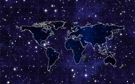 Mapa del mundo, estrellado, espacio