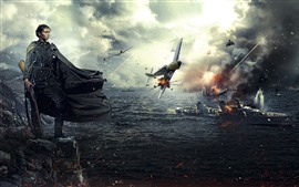 Preview wallpaper World War II, girl, ship, fighter, PS4 game