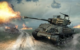 Preview wallpaper World of Tanks, battle, fire