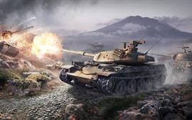 Mundo de tanques, lucha, guerra, juego caliente