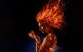 Preview wallpaper X-Men: Dark Phoenix, girl, fire