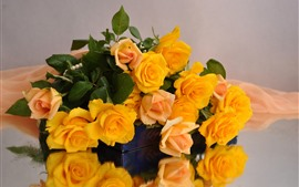 Yellow roses, bouquet, water droplets
