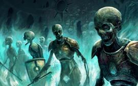 Zombies, skull, warrior, art picture