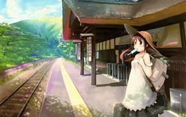 Preview wallpaper Anime girl, railway station