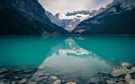 Preview wallpaper Banff National Park, lake, clear water, mountains, stones, Canada