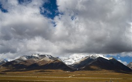 Beautiful Tibet, mountains, clouds, snow, nature landscape, China