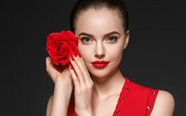 Beautiful girl, makeup, red rose