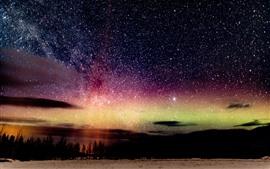 Linda noite, estrelada, céu, natureza paisagem