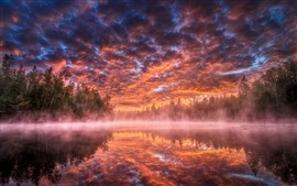 Beautiful sunrise, river, trees, fog, clouds, red sky