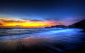 Hermosa puesta de sol, playa, mar, cielo