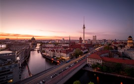 Preview wallpaper Berlin, Germany, city, bridge, river, cars, sunset