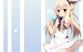 Preview wallpaper Blonde anime girl eat ice cream
