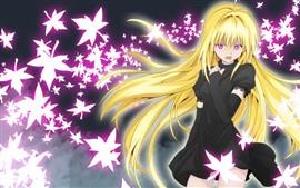 Preview wallpaper Blonde anime girl, purple eyes, leaves