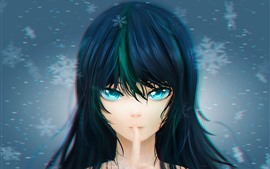 Preview wallpaper Blue eyes anime girl, hair, snowflakes