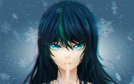 Ojos azules chica anime, cabello, copos de nieve.