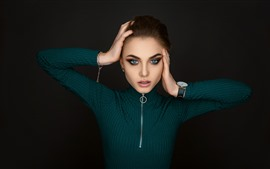 Blue eyes girl, face, pose, black background
