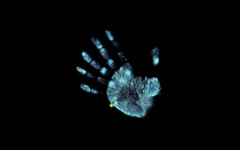Preview wallpaper Blue hand prints, black background