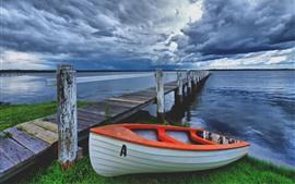 Лодка, Пирс, река, облака, Сумерки
