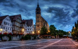 Preview wallpaper Boeblingen, Germany, city, houses, church, lights, street, night