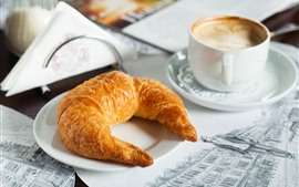 Preview wallpaper Breakfast, coffee, croissant
