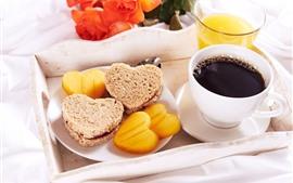 Café da manhã, sobremesa, café, suco de laranja