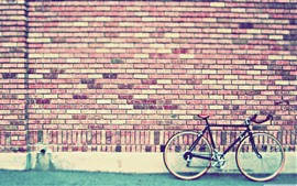 Bricks wall, bike, street