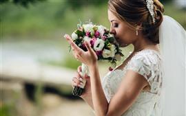 Noiva, buquê, flores, menina, casamento