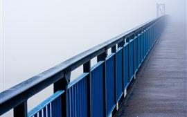Puente, valla, niebla