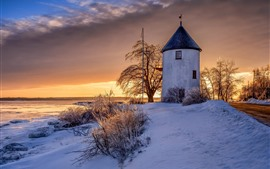 Preview wallpaper Canada, windmill, snow, sunset, winter