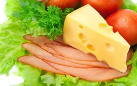 Preview wallpaper Cheese, tomatoes, bacon slice, vegetable