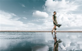 Preview wallpaper Cheongsam woman, water reflection, sky, clouds