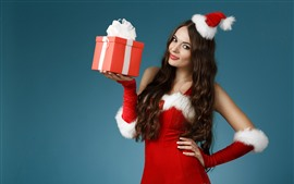 Preview wallpaper Christmas girl, red skirt, gift