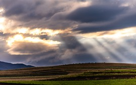 Preview wallpaper Chuanxi, Aba, fields, clouds, sun rays, China