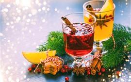 Preview wallpaper Cinnamon, drinks, cookies, berries, Christmas