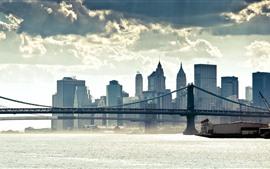Preview wallpaper City, buildings, bridge, river, clouds, fog
