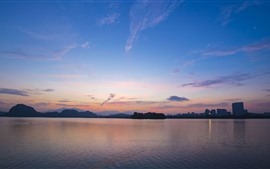 Cidade, lago, Crepúsculo, céu