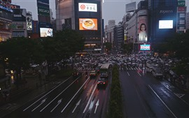 Preview wallpaper City, road, people, buildings, night, Japan
